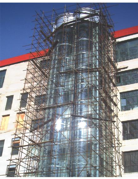 俱乐部专用圆形并联观光电梯钢结构井道_金属结构框架