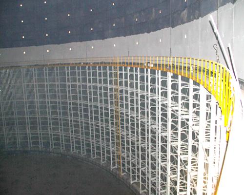 圆筒型橡胶膜密封(单段式)煤气柜内部结构